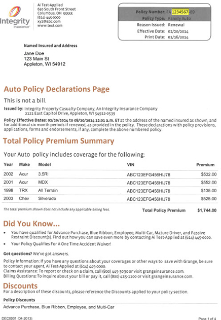 One Time Payment Integrity Insurance